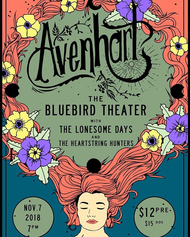 The Great @avenhartmusic are playing a show at the @bluebirdtheater with @lonesomedays and @theheartstringhunters on November 7th. Make sure to grab some pre-sale tickets and come on out. Its going to be a show to remember!