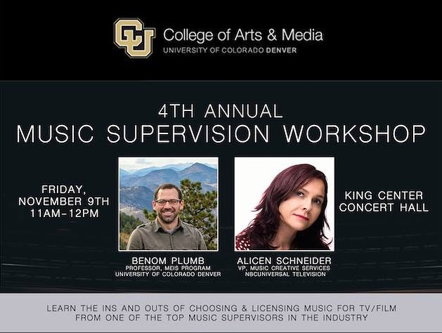 want to learn more about music supervision? come listen to Alicen Schneider, who is the Senior VP of Music Creative Services for NBCUniversal Television, talk about her experience with Professor Benom Plumb in the world of supervision! Event takes place November 9th from 11am-12pm in the King Center Recital Hall.