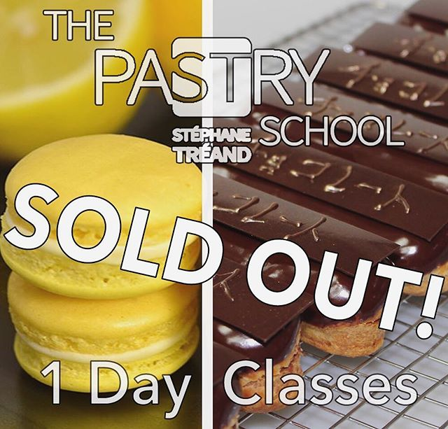 My Lemon Macaron and French Eclair classes are sold out. If you would like to learn from me... I still have space available in my other classes.  Please check out my website to see what's available, thank you.  www.ThePastrySchool.org