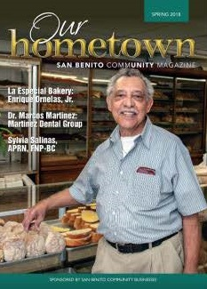 The Spring 2018 edition of  Our Hometown San Benito Community Magazine  contains articles pertaining to the businesses and residents of the City of San Benito.  A copy may be picked up at the Municipal Building located at 401 North Sam Houston Blvd or the San Benito Chamber of Commerce, or  click here  to view electronically.