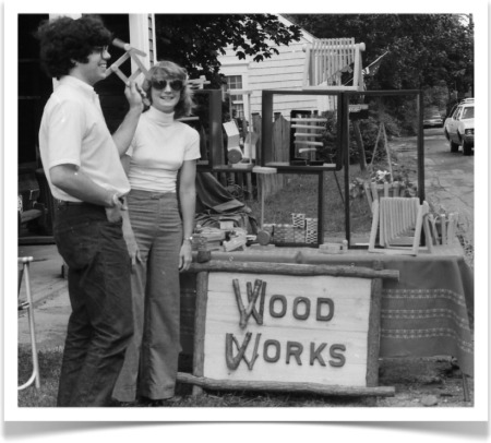 David and Marji Roy of wood That Works selling kinetic toys