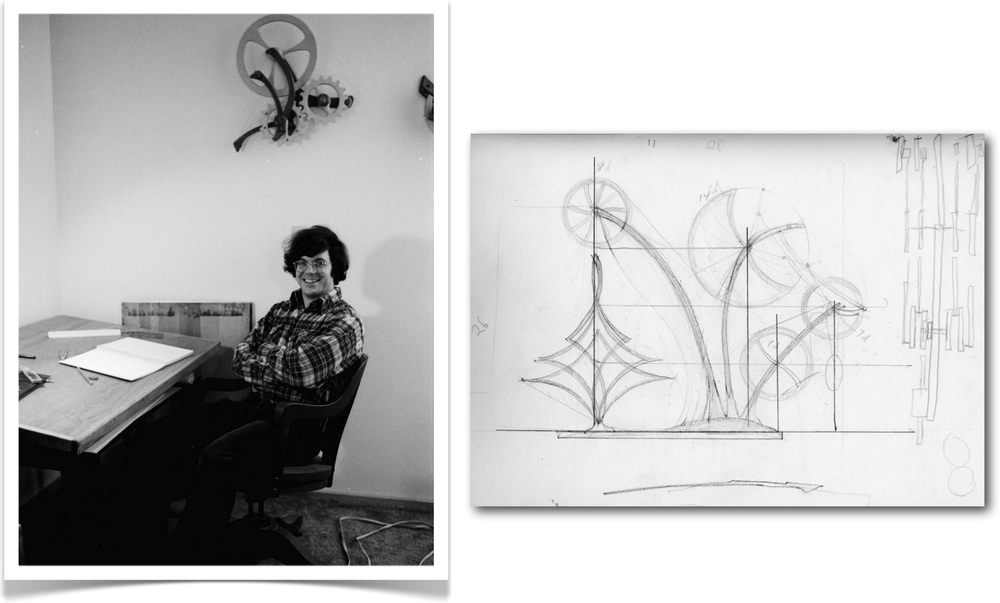 The early design drawing by kinetic artist David C. Roy from Wood That Works