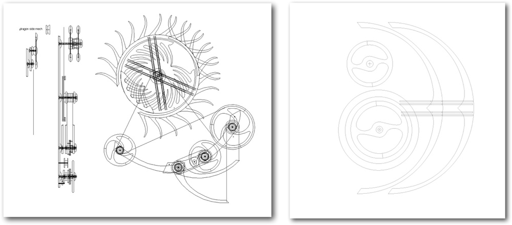 Design drawings completed by kinetic sculptor David C. Roy of Wood That Works