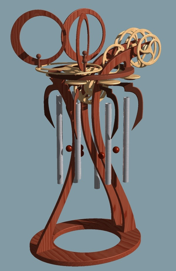 Computer generated design drawing of a kinetic sculpture with wind chimes by David C. Roy of Wood That Works