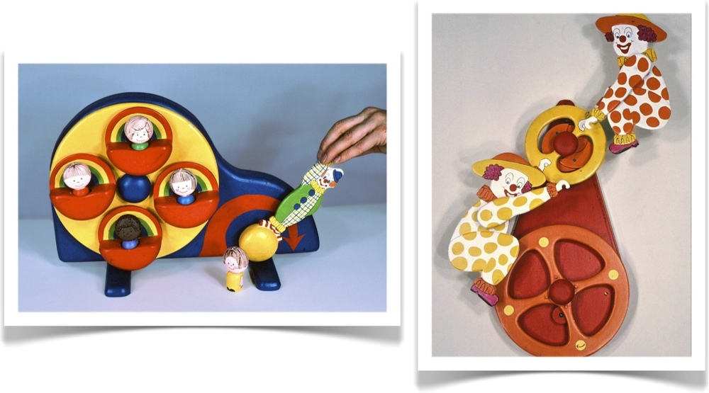 Toy designs by kinetic artists David C. Roy in collaboration with Marji Roy of Wood That Works