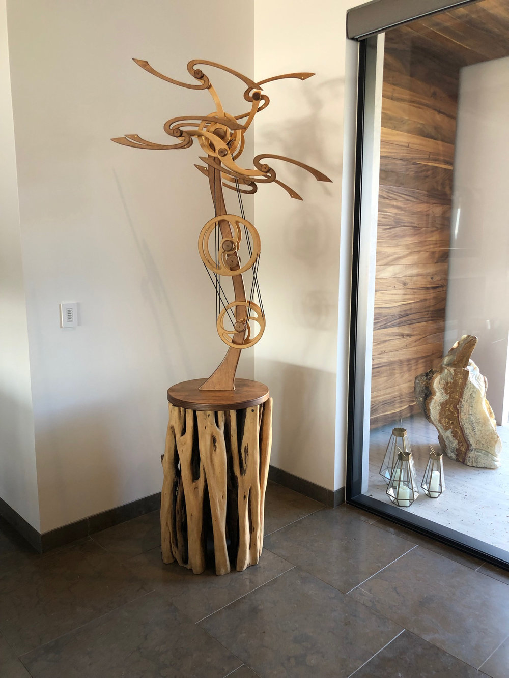 Willow Wind Kinetic Sculpture by David C. Roy of Wood That Works, created in 2009