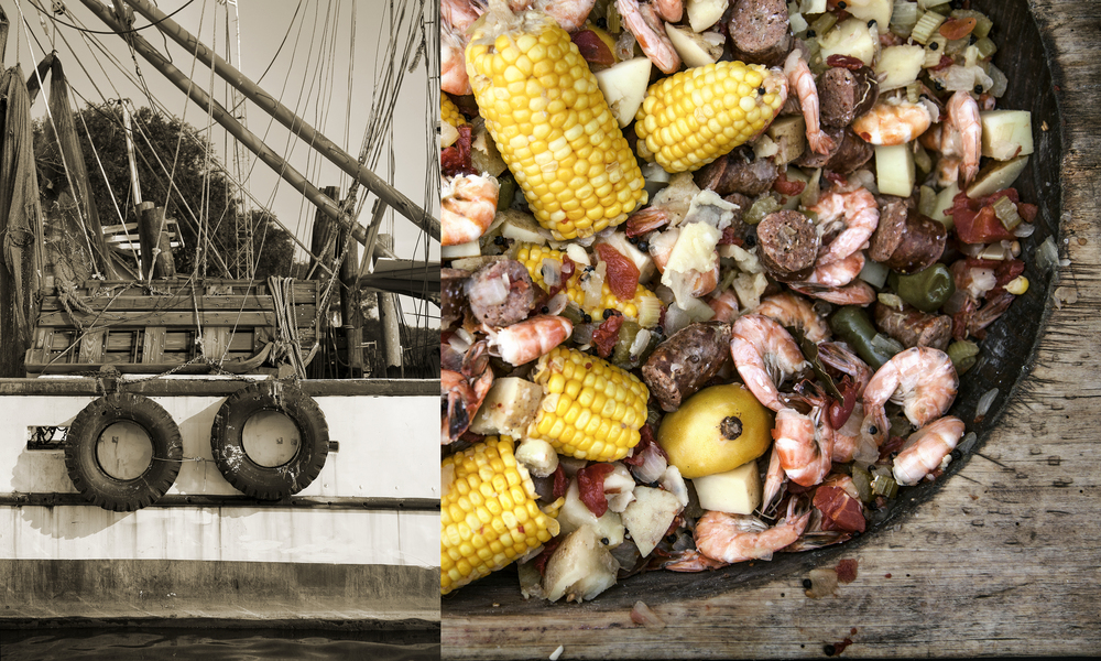 food photography of shrimp boil and shrimp boat