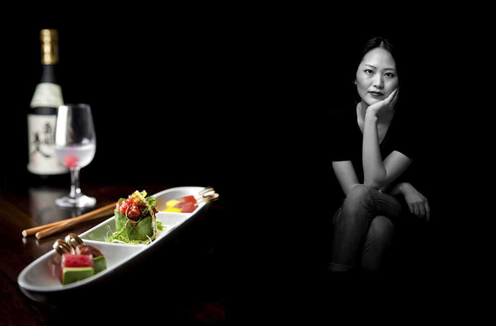 food and portrait photography of sushi and chef