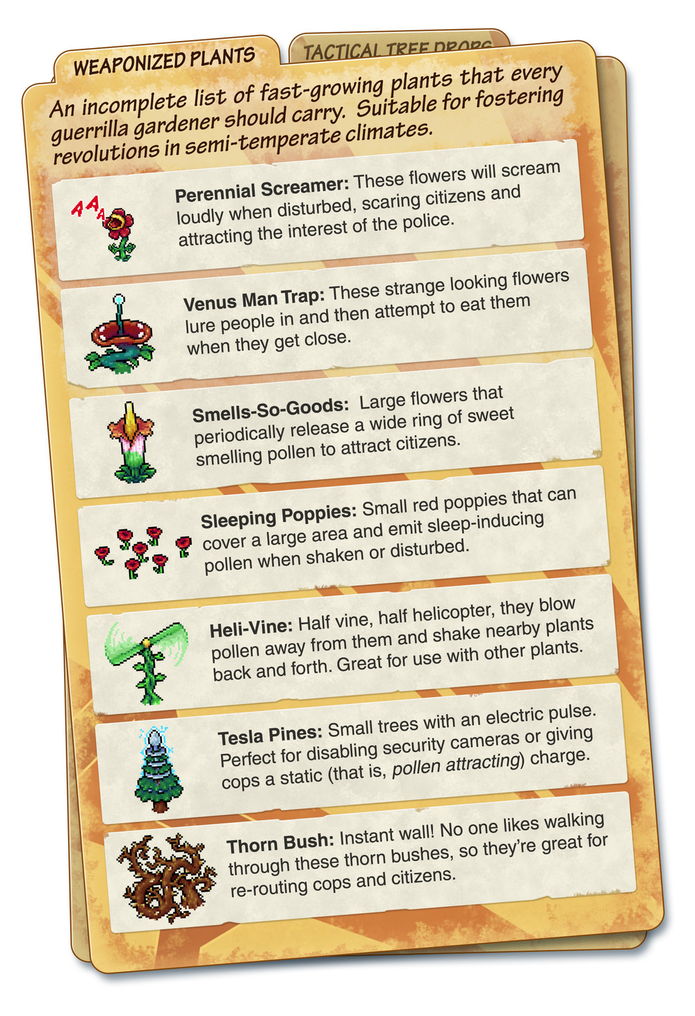 Plant guide from Spooky Squid Games promo material. (GDC 2011)