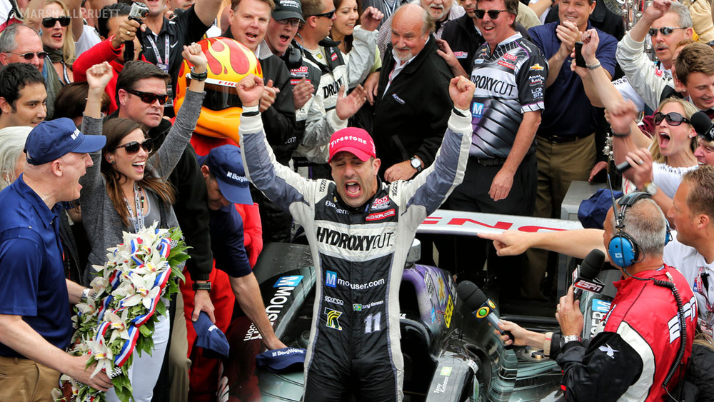 Tony Kanaan winning the 97th Indy 500, photo Marshall Pruett