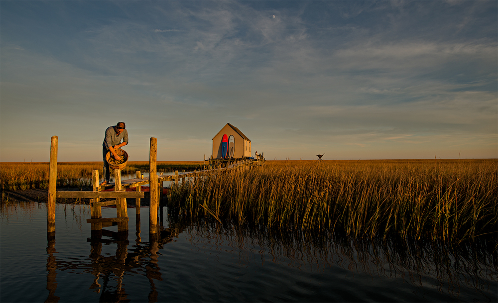 Waterman's cabin in the marsh grass of the barrier islands, Eastern Shore seaside.