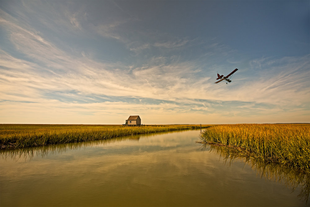 Gordon flying, the Eastern Shore, Va