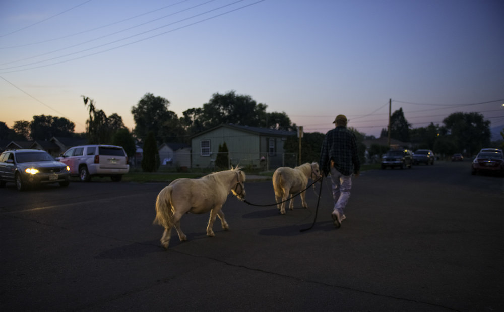 Walking the ponies, outside the Grocery Pub in Klamath Falls, Oregon.