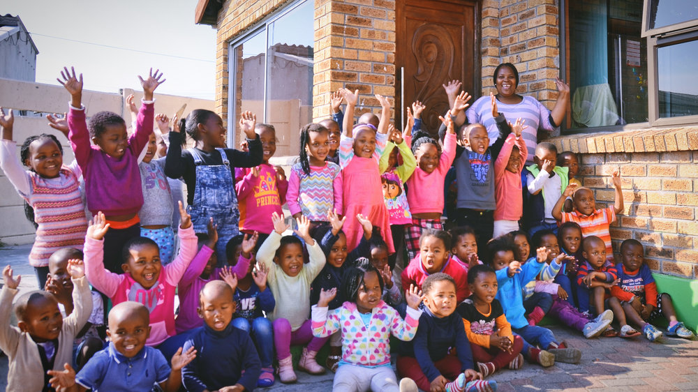 'Hand's up high': Ncumisa and some of her pupils