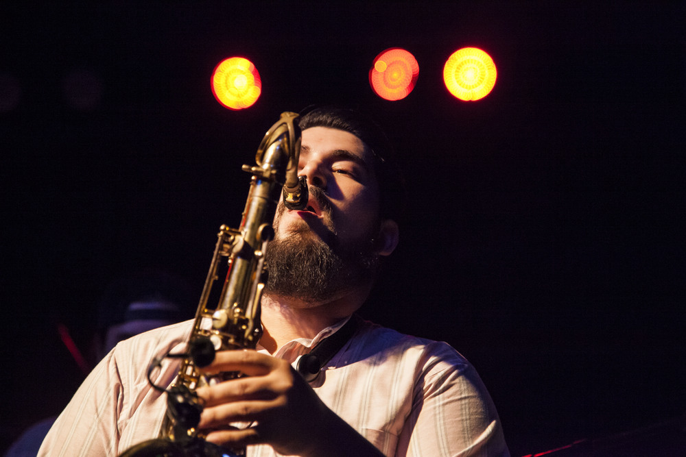 Saxophone player Vincent Villagomez prepares to play a note