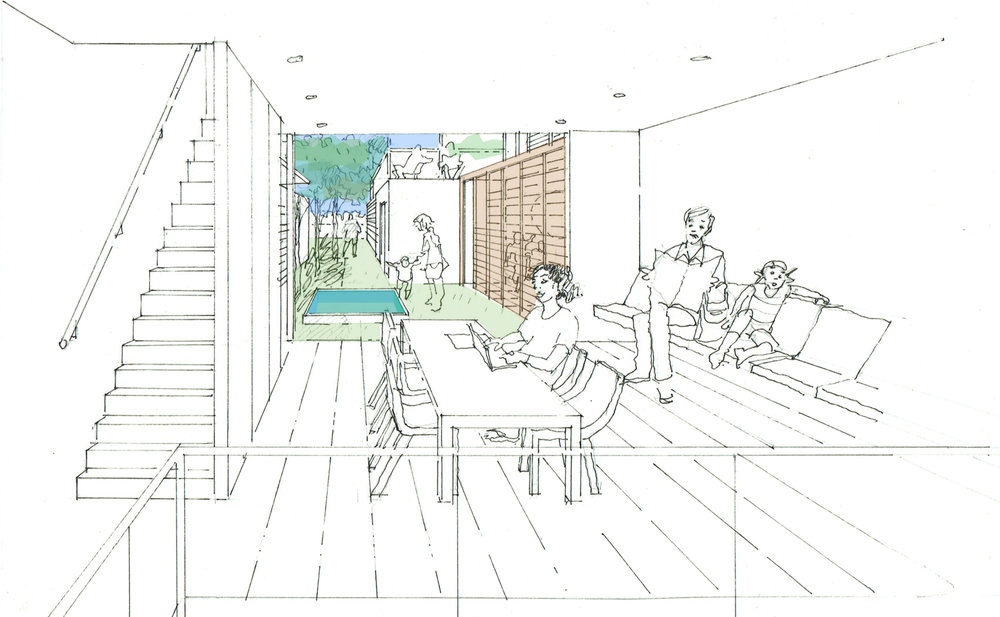 Internal courtyard sketch and common outdoor lounge area