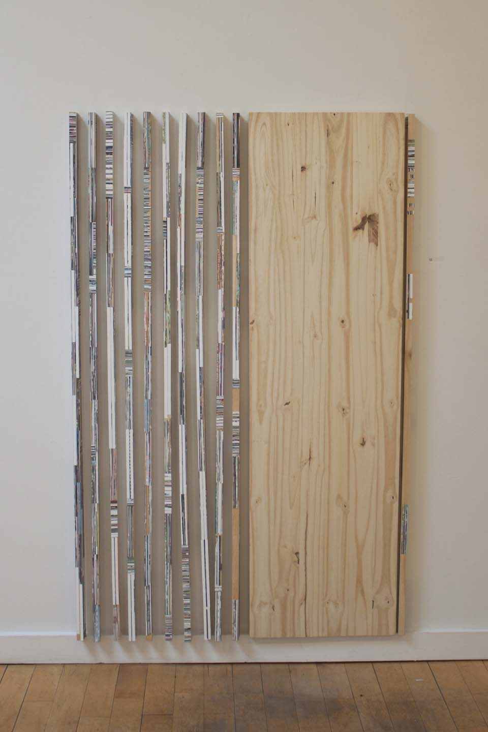 """""""I Thought You'd Be Taller""""  2014  Gloss gel medium, photo clippings on wood"""