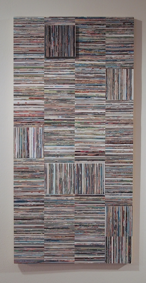 The Day I Hit 100 Pounds  2014  4x2'  Gloss gel medium,photo clippings on panel