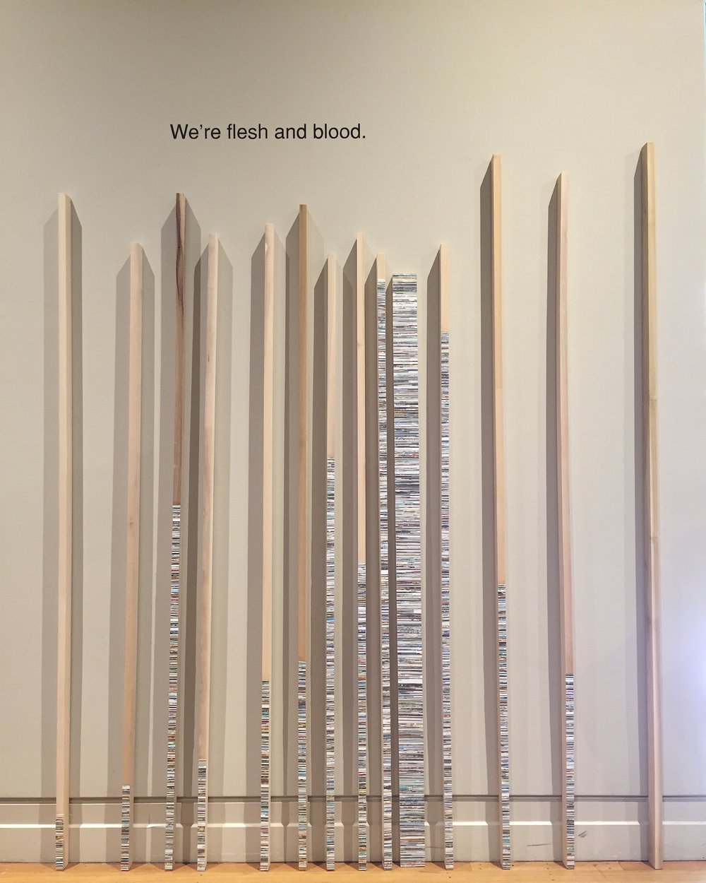 """""""We're flesh and blood""""  2016  Photo clippings, gloss gel on poplar"""