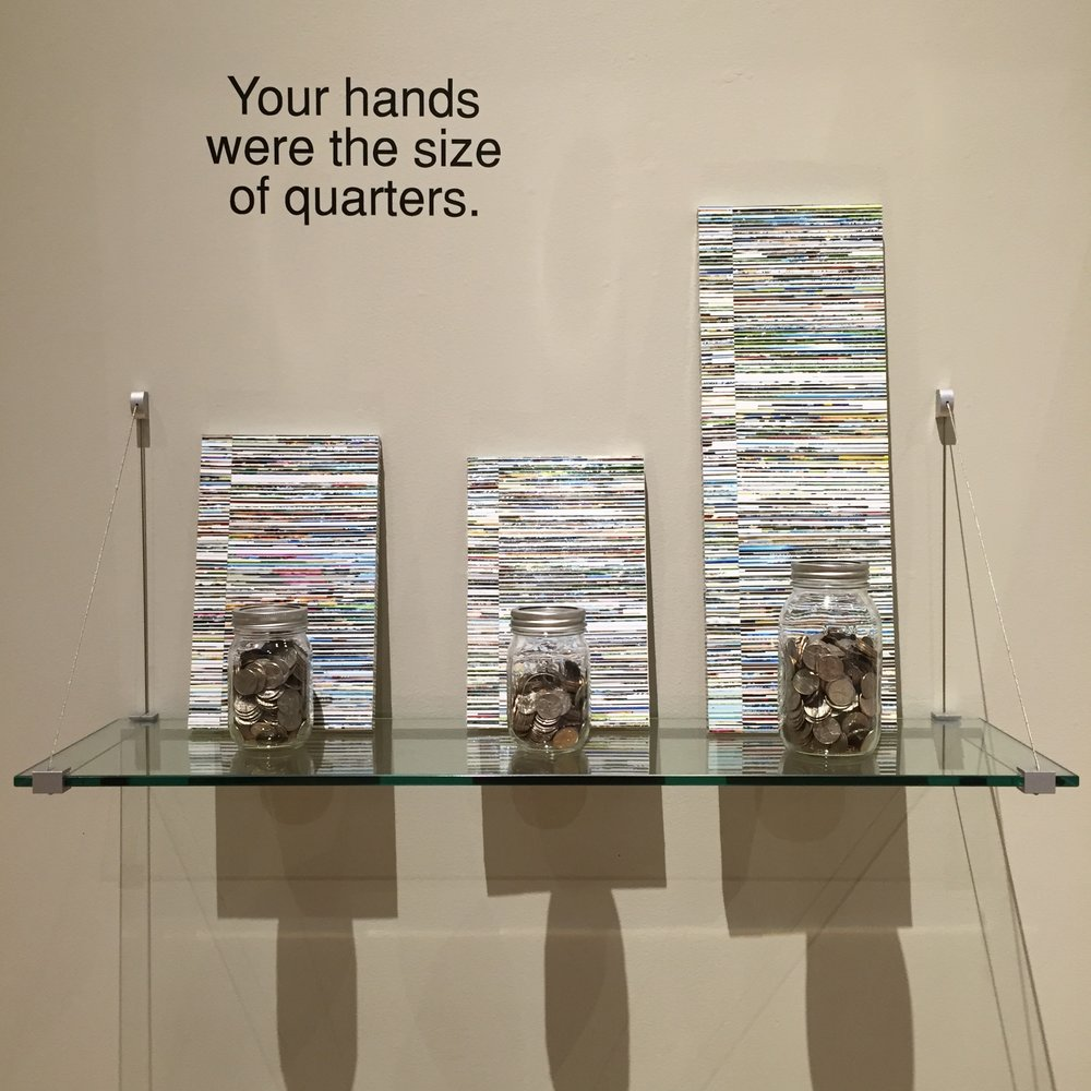 """""""Your hands were the size of quarters""""  2016  Quarters, photo clippings, gloss gel on poplar"""