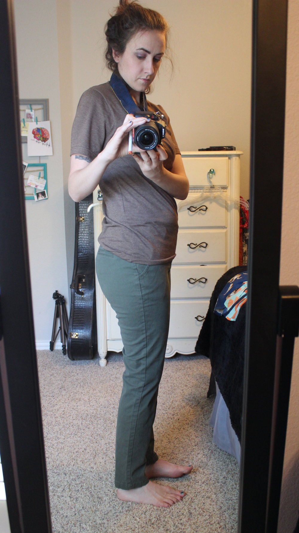 - I started by picking up these pair of olive green skinny pants at a thrift store by my house. Very cheap (~$2) and of course, eco-friendly.