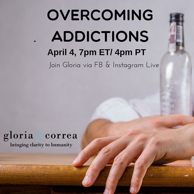 At your request.... tomorrow at 7pm ET/ 4pm PT  I will be discussing addictions. We will be covering, where these addictions stem from, and how to start your journey towards healing. As always, we will be doing a reading at the end and I would love to be of service to you or your loved ones. Please feel free to tag someone you think could benefit from joining us. I look forward to being of service to you. Xo, Gloria  #holistic #medicalintuitive #healer #addiction