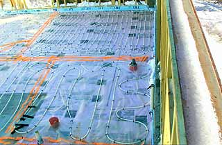 Wirsbo® HePex tubing layout awaiting concrete pour.