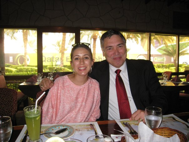 My dad and I having lunch at a restaurant in Doha, Qatar in 2008.