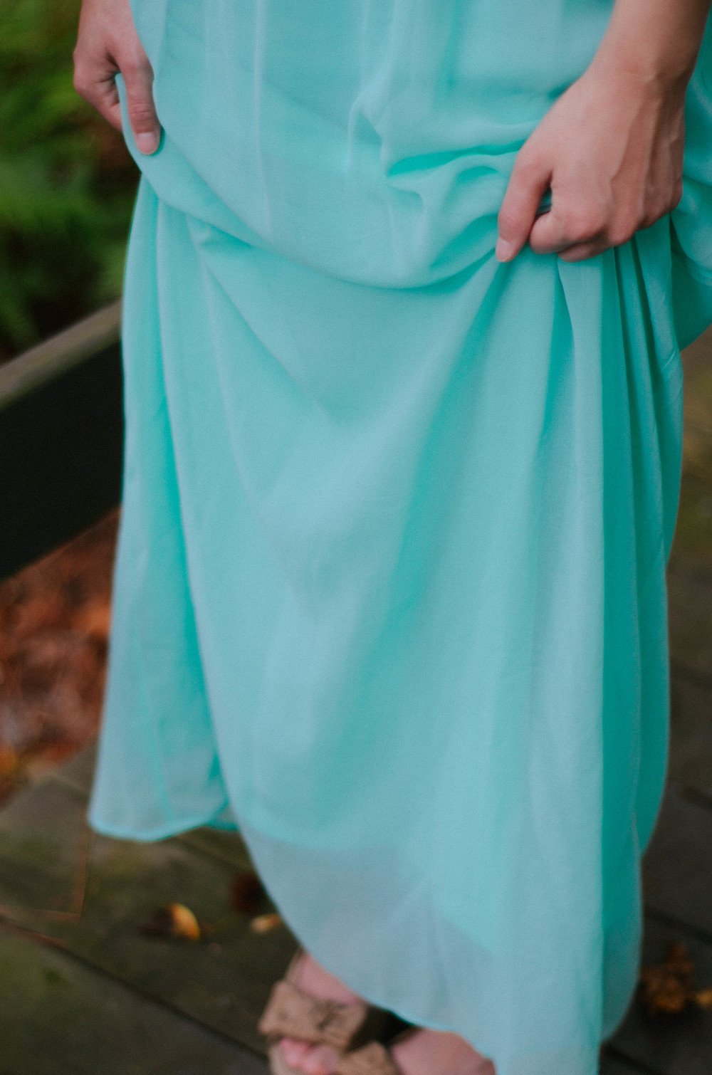 Bow-wedges-and-mint-maxi-dress