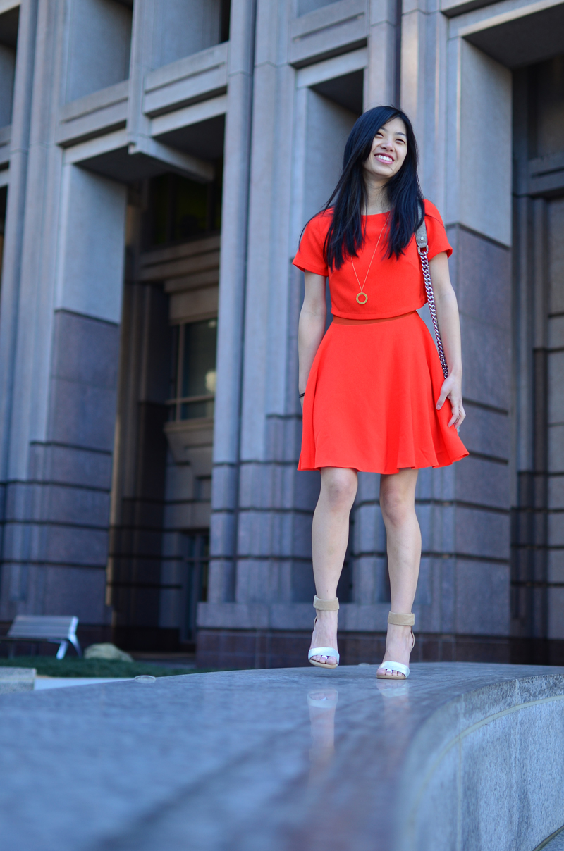 Blood Orange Dress with Gold Accents
