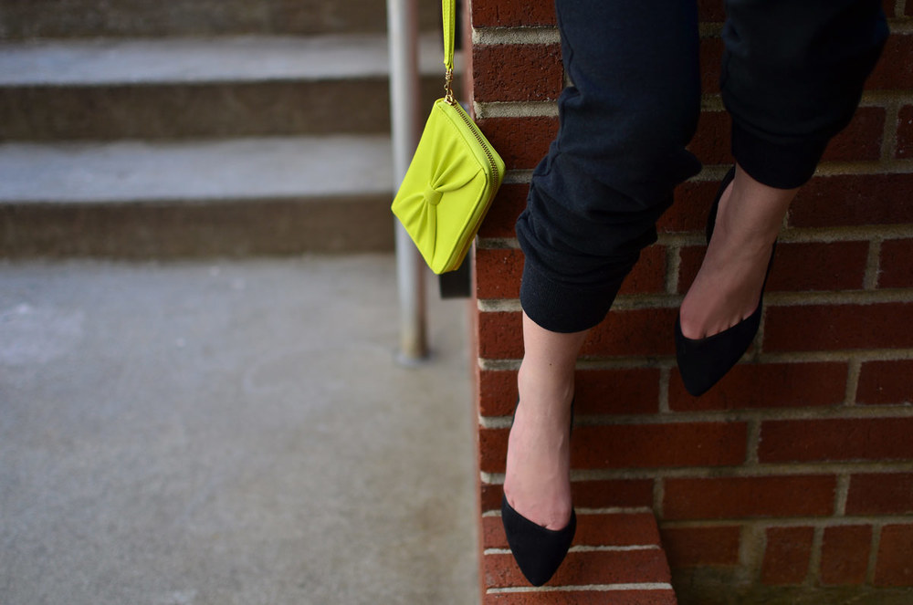 ASOS Heels and neon yellow wristlet