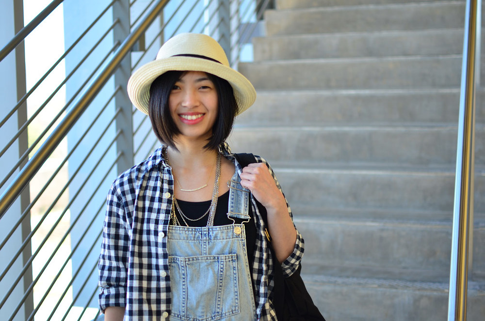 Gingham shirt and overalls