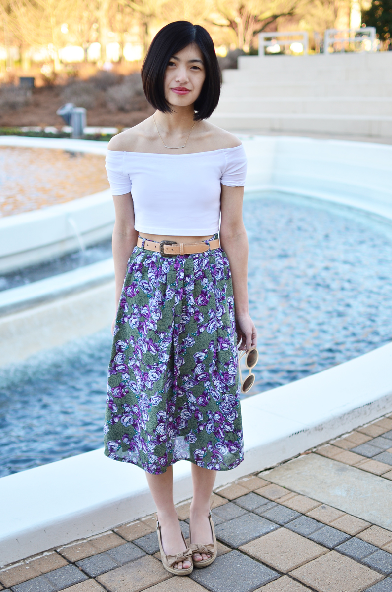 ASOS white crop top and vintage floral skirt