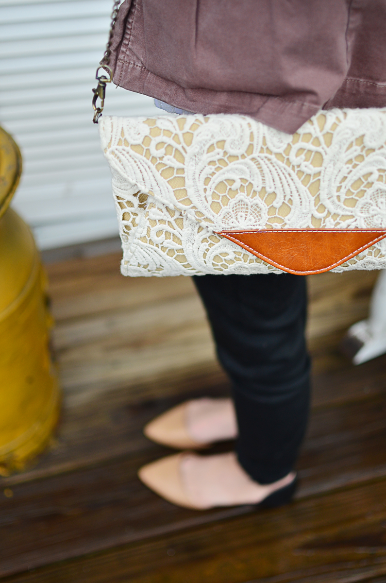 Lace In Point — Nila Anthony Lace Clutch and Halogen Kayla flats