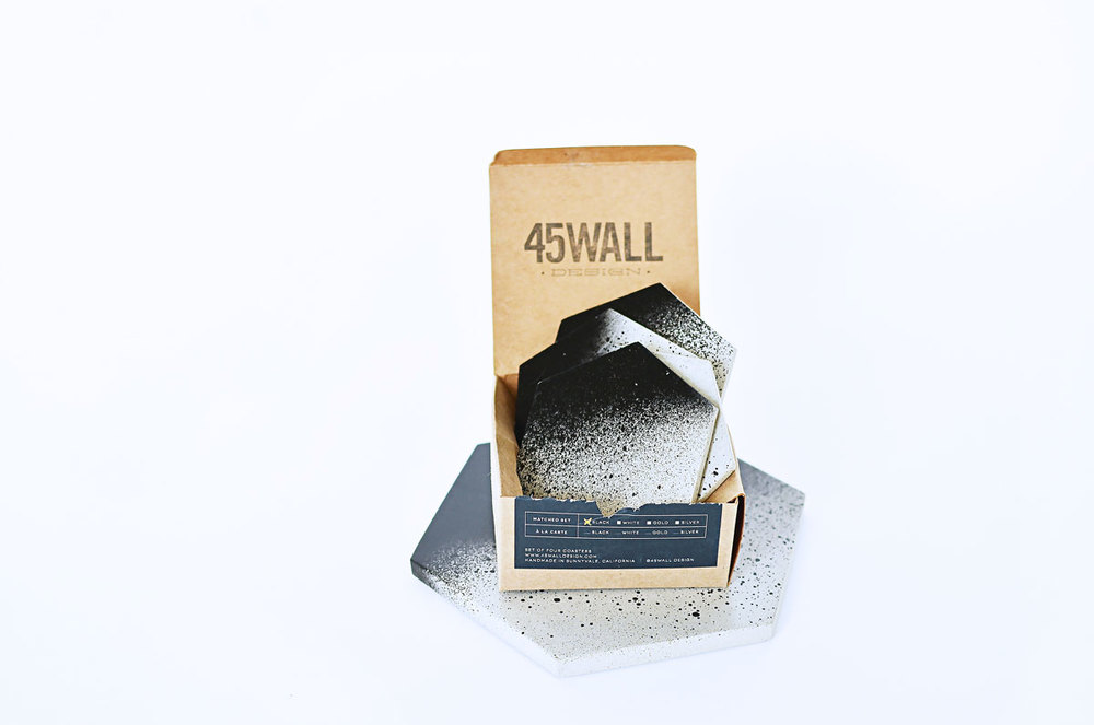 45 Wall Design Concrete Coaster Set and Trivet