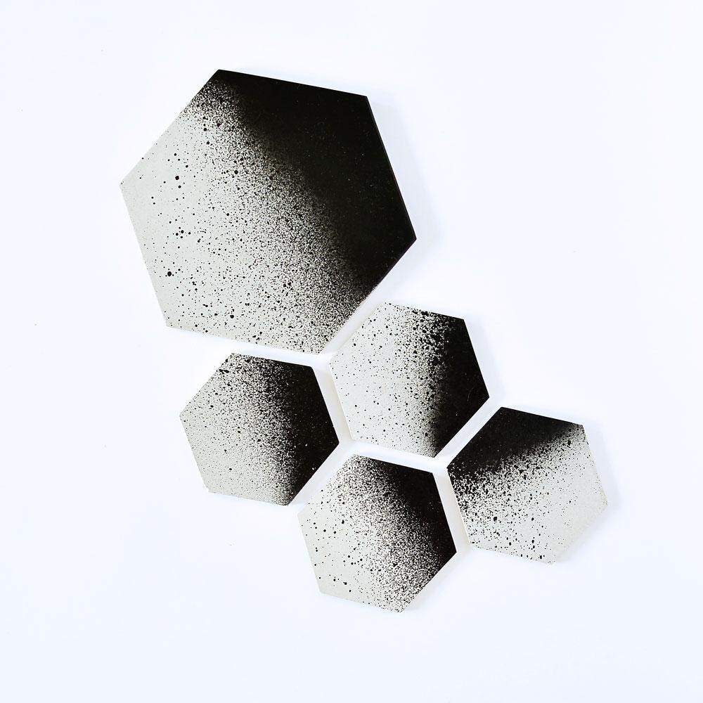 45 Wall Design  Concrete Coaster Set and Trivet