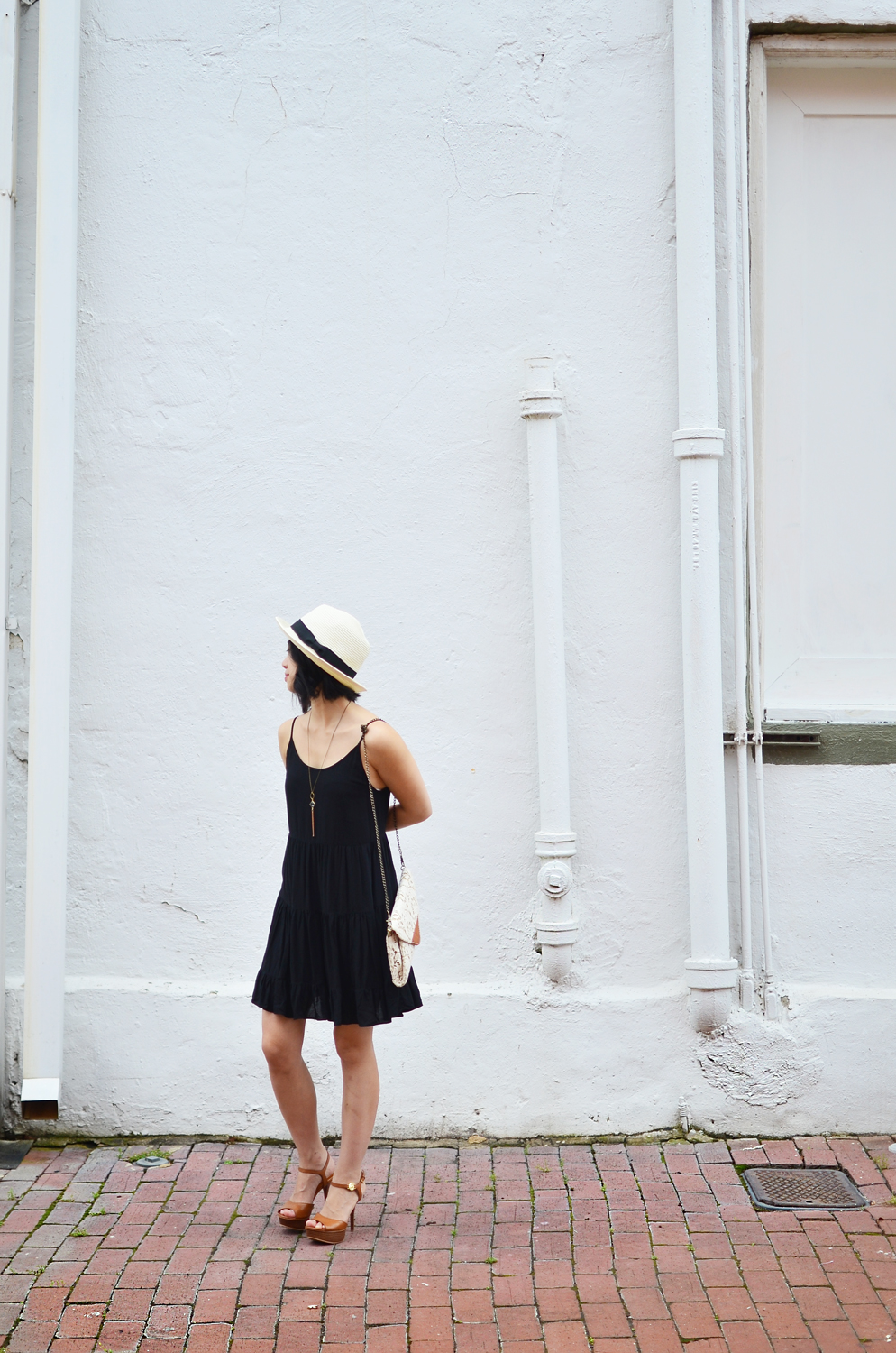 Talula Keisei dress, Talula Pelham hat, Crafts and Love Sam necklace, Nila Anthony clutch, Michael Kors sandals