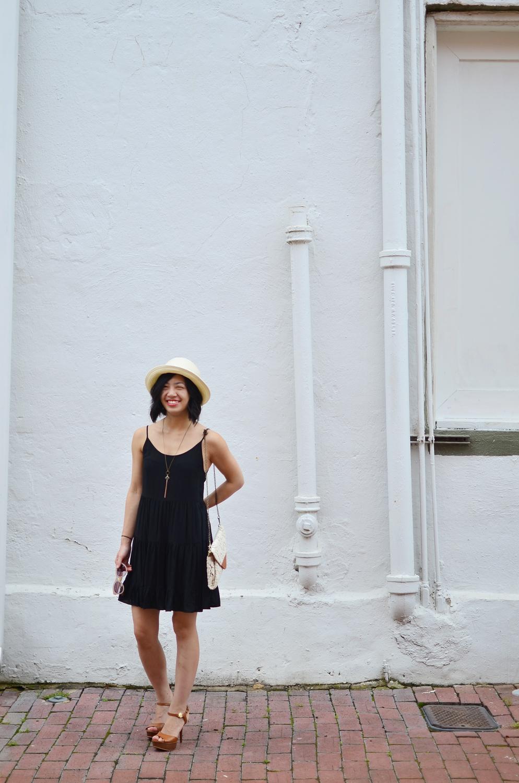 Talula Keisei dress, Talula Pelham hat, Crafts and Love Sam necklace, Nila Anthony clutch, Michael Kors sandals