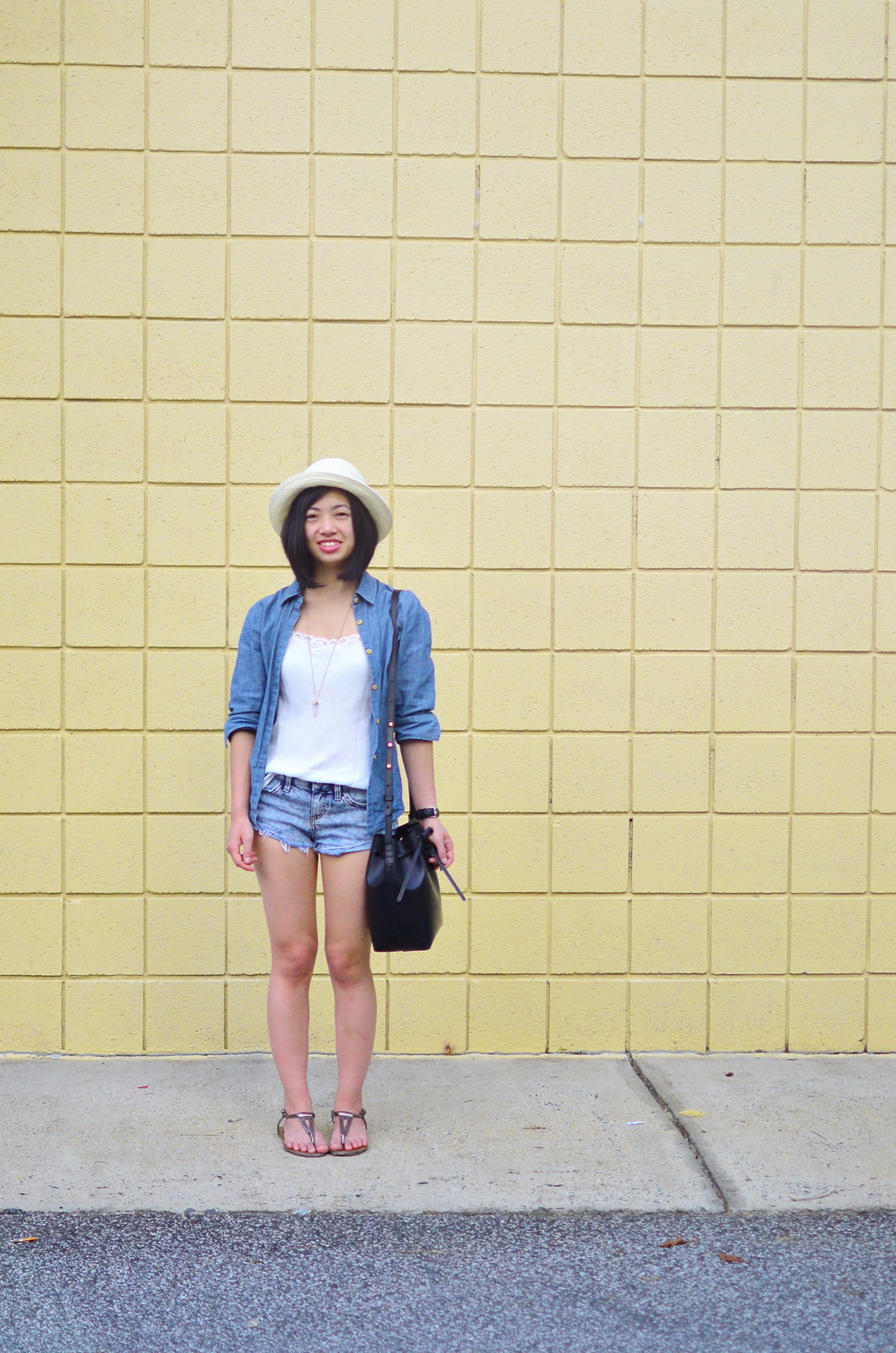 Talula Pelham hat, Wilfred Amaryllis camisole, Madewell cropped chambray, Topshop Moto bleached hotpants, Kenneth Cole Reaction Girls Music Float Sandal