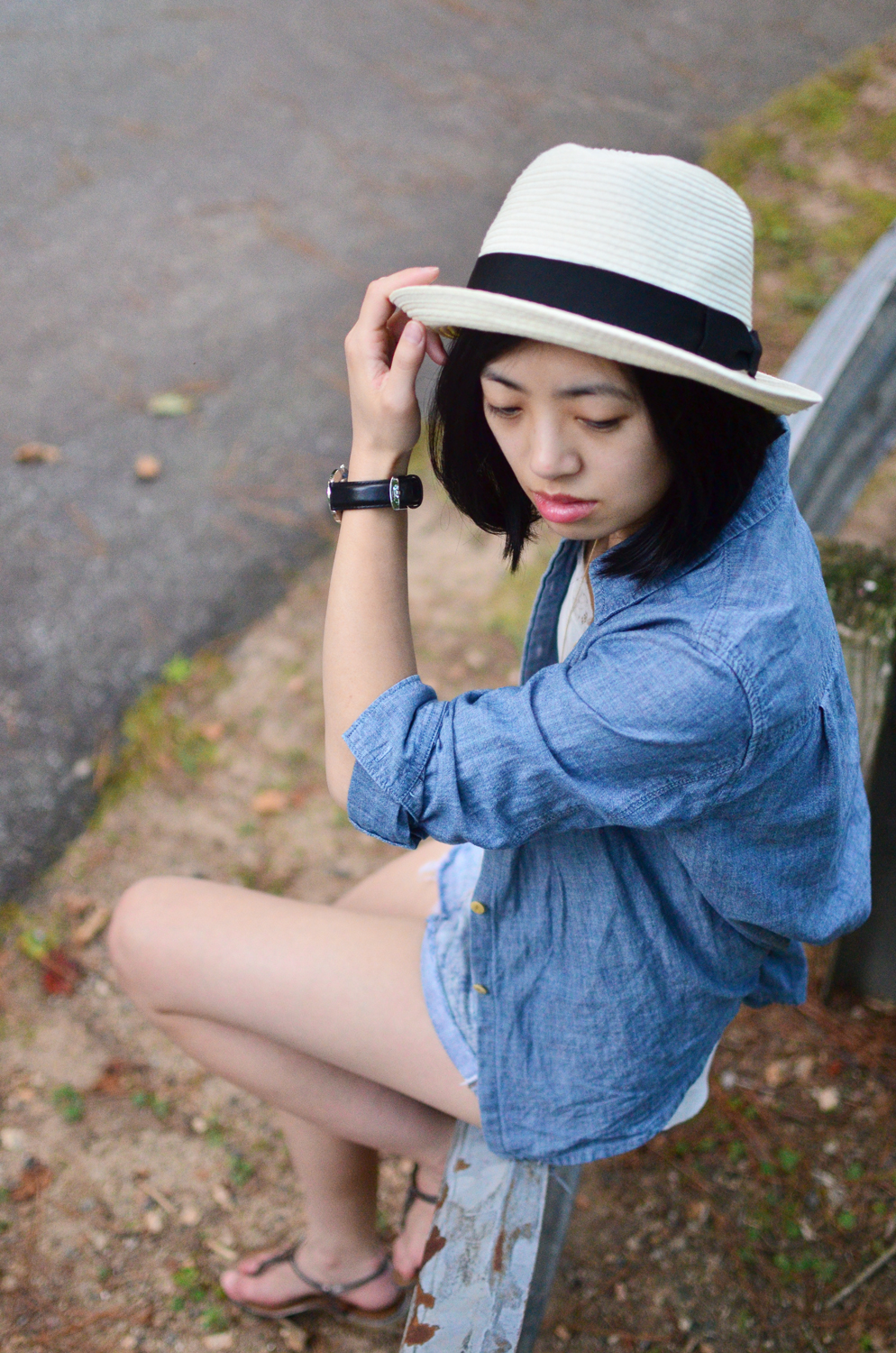 Talula Pelham hat, Madewell cropped chambray, Kenneth Cole Reaction Girls Music Float Sandal