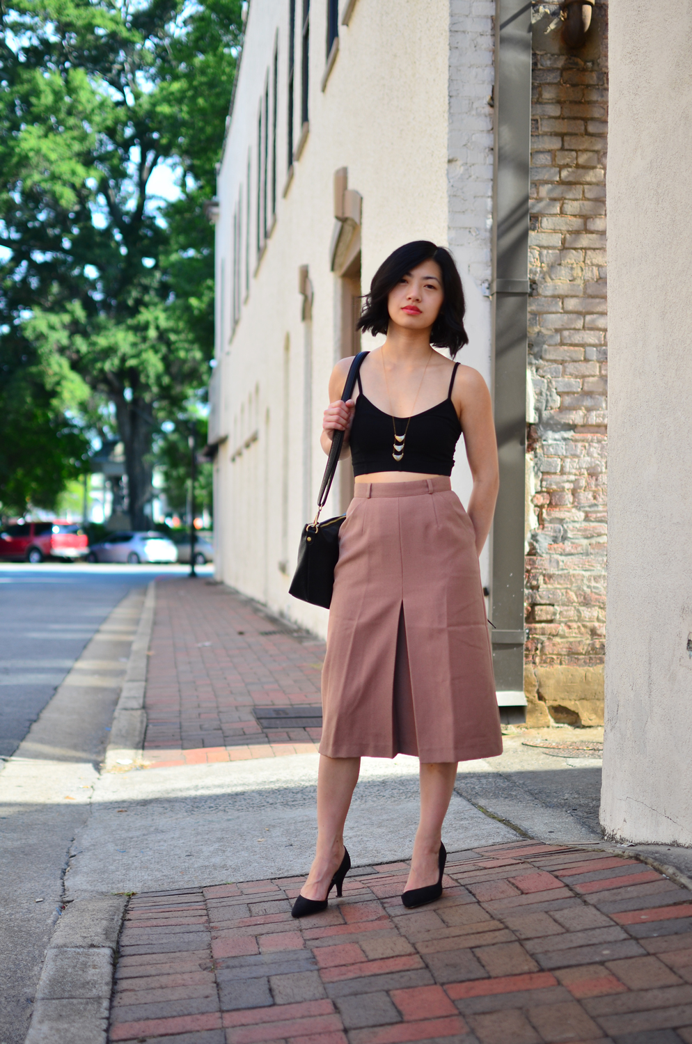 TNA Sierra bra top, vintage midi skirt, Crafts and Love Lorde necklace, ASOS Skittle pumps, Free People convertible vegan crossbody.