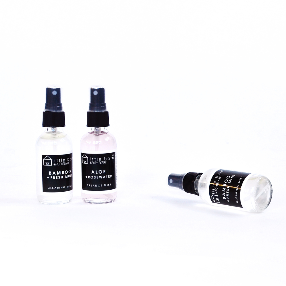 Bamboo + Fresh Mint Clearing Mist  (left and right),  Aloe + Rosewater Face Toning Balance Mist  (center)