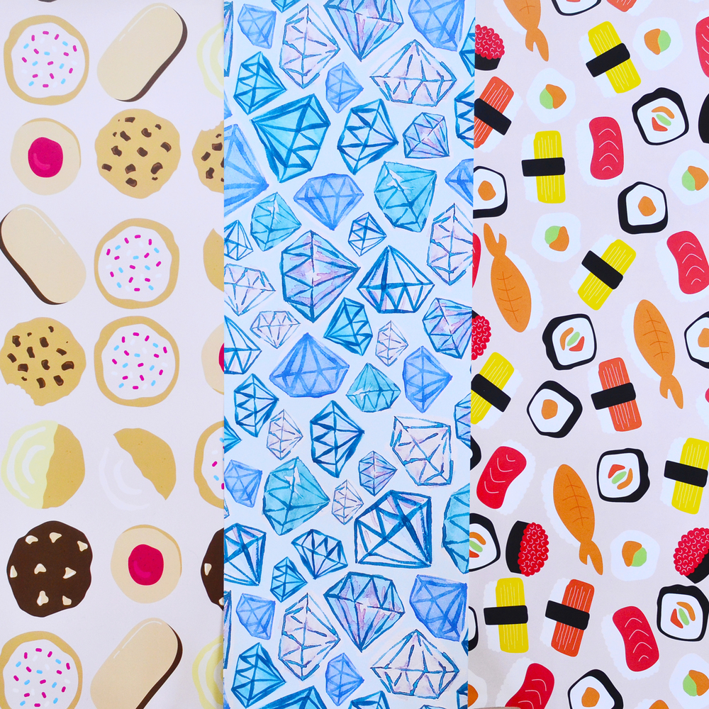 Cookie Gift Wrapping Paper  (left), Diamond Gift Wrapping Paper (center), and  Sushi Gift Wrapping Paper  (right)