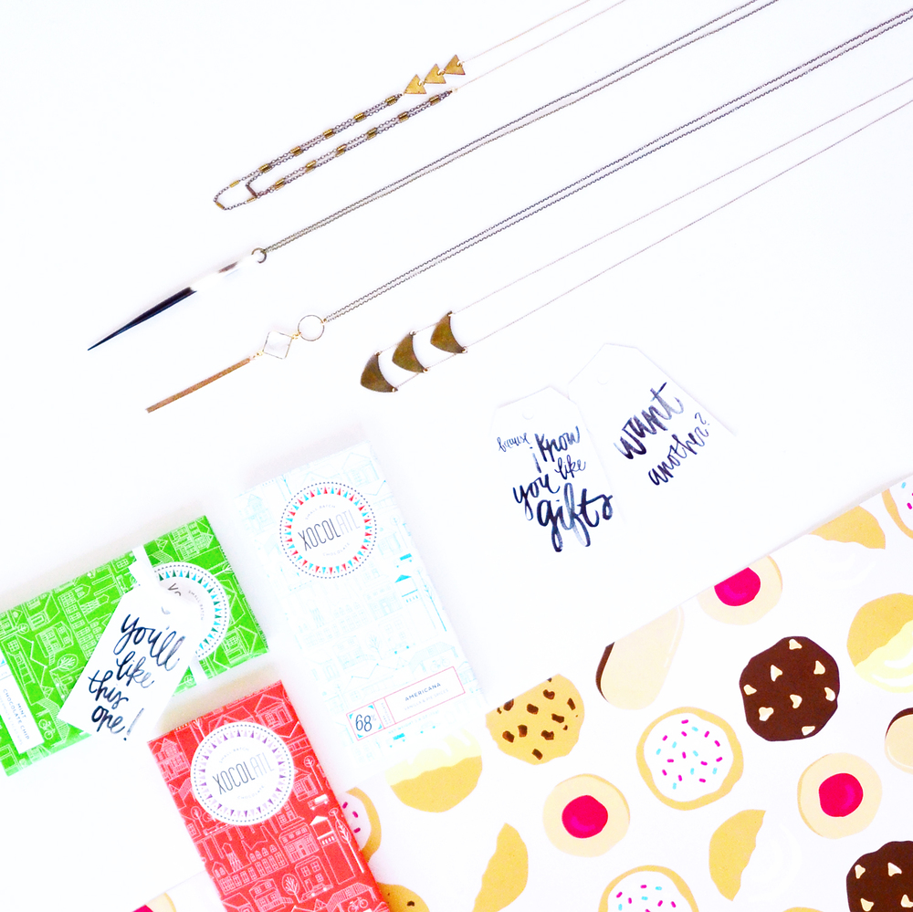 Xocolatl Mint Chocolate Chip, Wide Eyed, and Americana (apple pie); Crafts and Love Novella, Porcupine Quill, Sam, and Lorde; Almost Makes Perfect holiday gift tags, MEE+MIN Cookie Gift Wrapping Paper