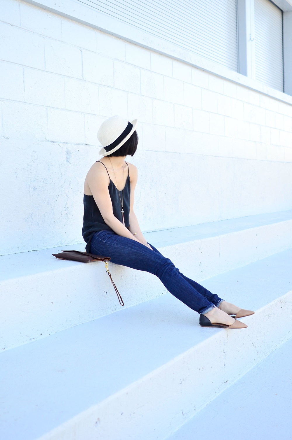 Talula Pelham hat, Grana silk racerback camisole, DTSLD high waisted skinny jeans, Crafts and Love Sam necklace and Mina cuff, Margaret Vera Kodiak clutch, Halogen Kayla flats