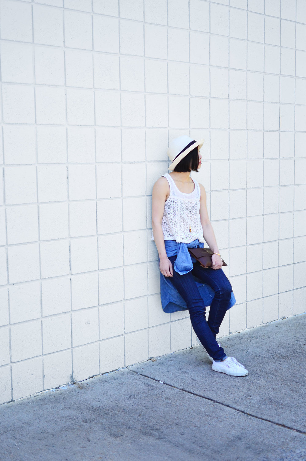 Talula Pelham hat, Free People crochet tank, Grana chambray boyfriend shirt, DTSLD high waisted skinny jeans, Crafts and Love Azul necklace and Mina cuff, Margaret Vera Kodiak clutch, Superga Cotu