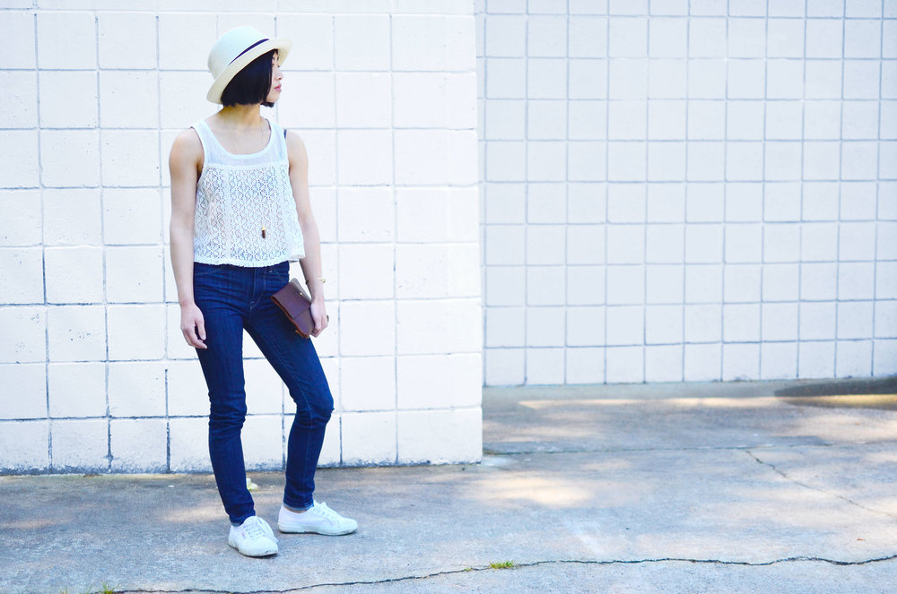 Talula Pelham hat, Free People crochet tank, DTSLD high waisted skinny jeans, Crafts and Love Azul necklace and Mina cuff, Margaret Vera Kodiak clutch, Superga Cotu