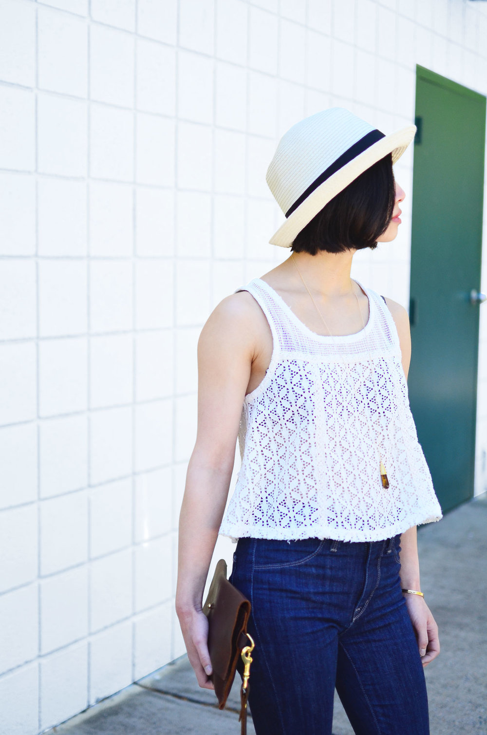 Talula Pelham hat, Free People crochet tank, DTSLD high waisted skinny jeans, Crafts and Love Azul necklace and Mina cuff, Margaret Vera Kodiak clutch