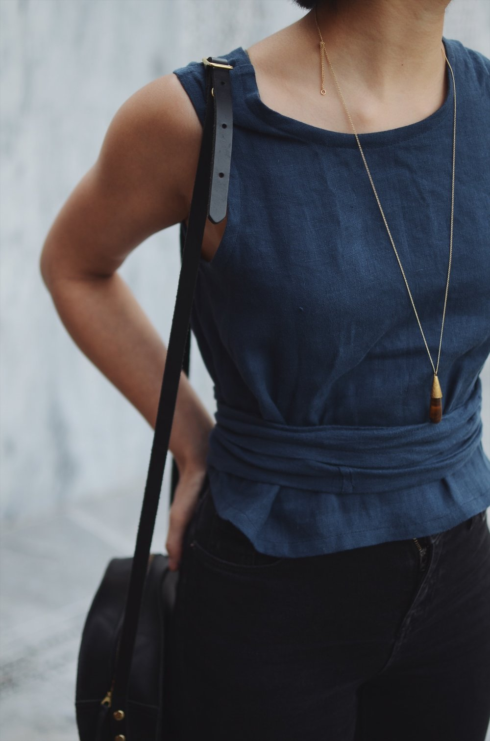 Lauren Winter - Wraparound tank in navy linen