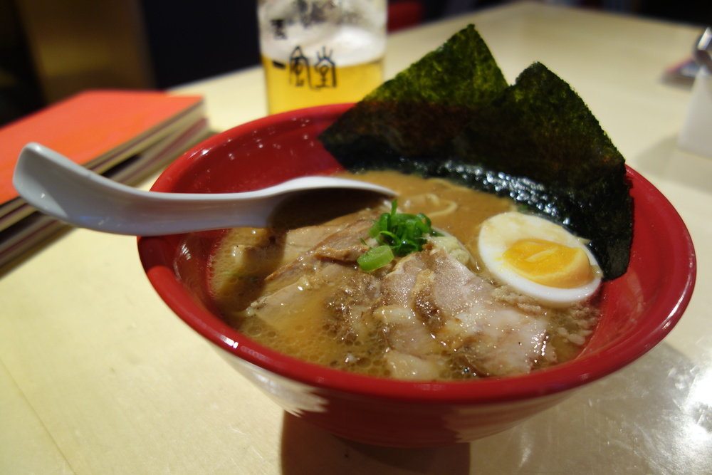 Special Sapporo Miso -- two types of pork, bamboo shoots, soft boiled egg half, seaweed